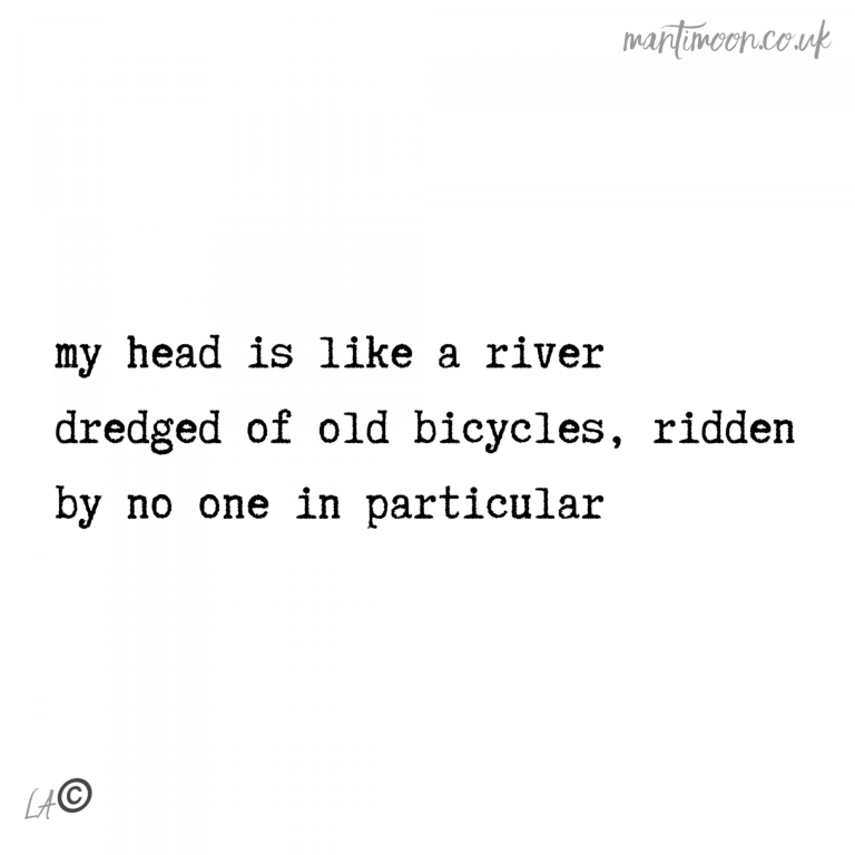 Haiku of the week: my head is like a river/ dredged of old bicycles, ridden/ by no one in particular